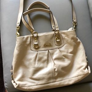 Coach barely used white bag